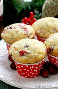 Recipe for soft and delicious chocolate chip cranberry muffins with a hint of orange. Perfect for the holidays!