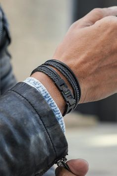 Black black roy leather bracelet in stock! lucleon how to style a fishtail braid without any tool Leather Cord Bracelets, Black Bracelets, Bracelets For Men, Bracelet Men, Bijoux Design, Casual Chique, Stainless Steel Bracelet, Vintage Men, Watches For Men