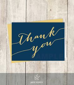 10 off with coupon code pin10 pastel thank you card diy formal thank you card diy trendy calligraphy card gold and navy wedding thank fandeluxe Choice Image