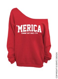 Merica  Runnin' Sht Since 1776  Red Slouchy by DentzDesign on Etsy, $29.00
