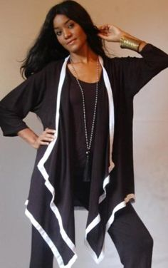 BLACK WHITE JACKET ASYM 3/4 SLEEVE - FITS - 2X 3X 4X - B562 - LOTUSTRADERS LOTUSTRADERS. $47.99
