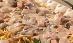 Η τέλεια μακαρονάδα με τέλεια κρεμώδη σάλτσα μανιταριών με ζαμπόν και τυρί. Μια υπέροχησάλτσαπουονομάζεται σάλτσα Caruso!Αρχικά τη έφτιαχναν στην Μακαρόνια με κρεμώδη σάλτσα μανιταριών, ζαμπόν και τυρί