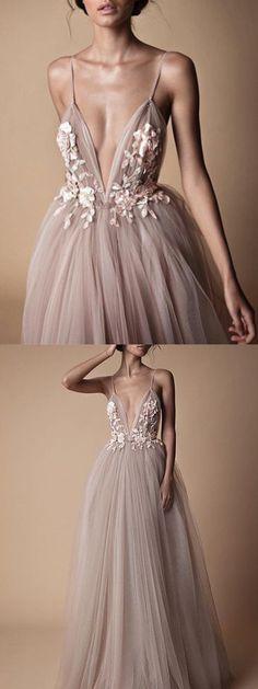 A-line Spaghetti Strap Floor-Length Tulle Appliqued Prom Dresses ASD2654 #promdresses #applique #spaghetti #floor #vintage #long