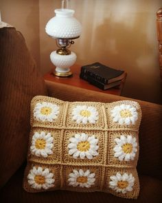 Granny daisey square pillow.