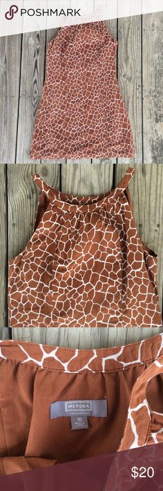 Merona Giraffe Print Shift Dress 10 Cute giraffe print shift dress from Merona Collections. Size 10. Made of cotton and silk. Great condition! Merona Dresses