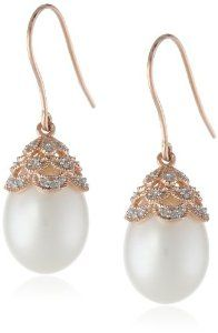 10k Rose Gold Cultured Freshwater Pearl and Diamond Earrings (0.1cttw, GH Color, I2-I3 Clarity)
