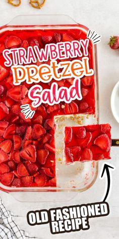 Jello Pretzel Desserts, Strawberry Pretzel Jello, Frozen Strawberry Desserts, Fresh Strawberry Recipes, Just Desserts, Delicious Desserts, Yummy Food, Fun Food, Jello Recipes