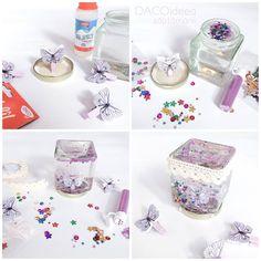 DACOideea săptămânii este acest glob (borcan) cu fluture, o variantă de decor strălucitoare, care amintește de basme. Produsele folosite sunt: Fîl-Fîl, Silipici, Paiete petrecărețe, pudră glitter și dantelă bumbac autoadezivă crem, de la DACOart. Le găsiți în magazinele partenere și pe http://www.dacomag.ro.