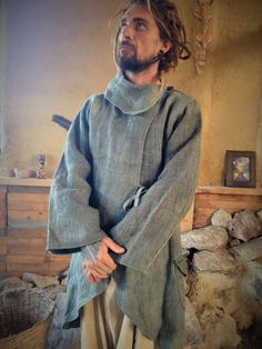 Hemp Long  Jacket  by PrimitiveTribalCraft on Etsy