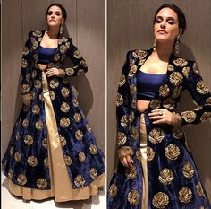 Neha Dhupia In A Royal Blue Embroidered Velvet Jacket ,For This Dress Mail Us At contact@ladyselection.com