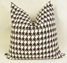 Brown Houndstooth Pillow Cover . 18 x 18 inch . Brown . White . Pillow Cushion . Pillow Sham. $17.00, via Etsy.