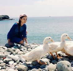 Yoo-mi with ducky 2 Five Star Hotel, Celebs, Celebrities, The Girl Who, Bird, Animals, Muse, Lovers, Animales