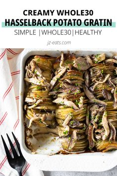 If hasselback potatoes and potato gratin had a baby, it would be this! It's creamy, crispy, and topped with the best creamy mushroom sauce ever. Healthy Vegetable Recipes, Sprout Recipes, Healthy Vegetables, Easy Healthy Recipes, Easy Dinner Recipes, Delicious Recipes, Side Dishes For Bbq, Potato Side Dishes, Best Side Dishes