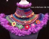 Chauffe épaules et cou, laine filée main et laines du commerce, laine mohair artisanale