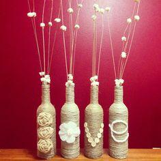 I've been saving wine bottles like crazy.. knew I'd find something for them! DIY wine bottle craft