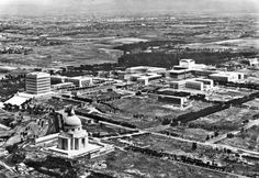 EUR, Rome. This was originally going to be the the site for the 1942 world's fair which Benito Mussolini planned to open to celebrate twenty years of Fascism; the letters EUR stand for Esposizione Universale Roma. EUR was also designed to direct the expansion of the city towards the south-west and the sea, and to be a new city centre for Rome. The planned exhibition never took place due to World War II.