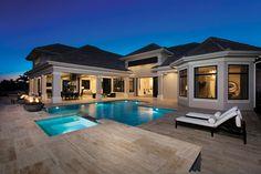 Luxury Garden Homes . Backyard Pool Designs, Patio Design, Dream House Plans, My Dream Home, African House, Mediterranean House Plans, Home Design Plans, Modern House Design, Planer