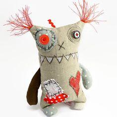 Ooak Art Doll, Friendly Monster Doll, Gift for Boyfriend