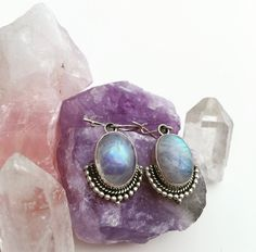 Moonstone Earrings / Sterling Silver Moonstone Drop Earrings / Rainbow Moonstone Jewelry / Gemstone Earrings - VIVI & SAM