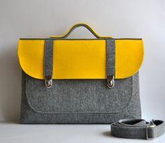 Felt briefcase 16 MacBook Pro laptop urban bag sleeve with a pocket satchel case gray felt with stylish buckle Common Laptop Bag on Etsy, $55.00