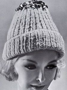 Sequinned Watch Cap knit pattern from High Fashion Hats, originally published by Bernhard Ulmann, Volume 62.