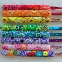 Beautiful Polymer Clay Crochet Handles