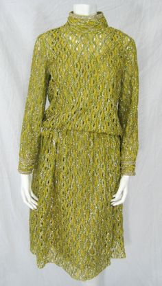 Vintage 1960s James Galanos Chartreuse Green & Gold Metallic Braided Lace Cocktail Dress XS / S. $375.00, via Etsy.