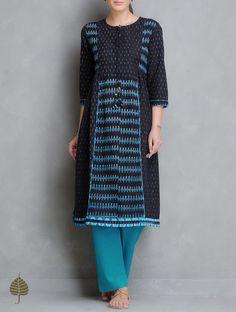 Buy Black Turquoise Ivory Handloom Ikat Cotton Side Pleated Kurta by Jaypore Women Kurtas Enigma and Pants Online at Jaypore.com