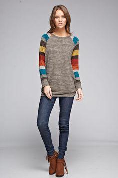 Two Tone Striped Sleeve Sweater - Rust