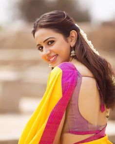 Rakul Preet in Yellow Saree with Cute and Lovely Smile in DEV Beautiful Girl Indian, Most Beautiful Indian Actress, Beautiful Saree, Beautiful Bollywood Actress, Beautiful Actresses, Rakul Preet Singh Saree, How To Pose For Pictures, Saree Backless, Saree Poses