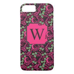 Dark Flourish Vintage Folk Art Pink Black Monogram iPhone 8/7 Case