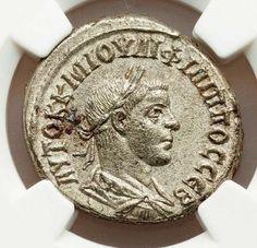 Philip II BITetradrachm NGC AU 5/5 Very rare Roman coin with original Luster