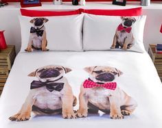 "Pug Duvet Set  Single £15.00 Double £25.00 King £30.00 Cute and cuddly... Fun and fashionable ""on trend"" and everyone's favourite cuddly canine on a stunning design.  Available in duvet sets (single with 1 pillowcase, double and king size with 2 pillowcases).  50% cotton/50% polyester. Machine washable."