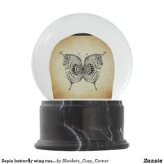 Sepia butterfly wing customize girly angel Bride Snow Globe