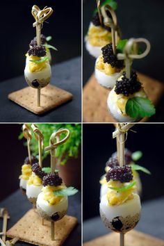 Quail eggs for festive day - B as Good - - - Tapas, Italian Appetizers, Mexican Food Recipes, Ethnic Recipes, Salad Bar, Mini Foods, Antipasto, Food Lists, Food Plating