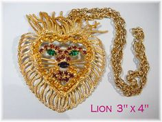 @@ FREE SHIPPING WITHIN USA @@ Vintage Jewelry Lot - 13 Piece 3 x 4 Lions Head Rhinestone Necklace - Excellent except for a hardly noticeable