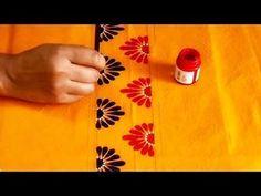 Hand Painted Designer Neckline on Yellow Colored Kurti Saree Painting Designs, Fabric Paint Designs, Fabric Design, Hand Painted Sarees, Hand Painted Fabric, Fabric Painting, Diy Painting, Mural Painting, Dress Painting