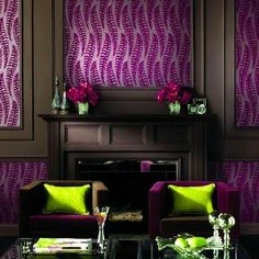 Love the chartreuse pillows with the rich purple velvet