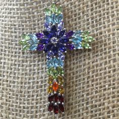 "AUTHENTIC GEMSTONE CROSS Stamped 925 Sterling Silver Cross. 2""X 1 1/4"" Cross Natural Gemstones. Peridot, Amethyst, Tanzanite, Aquamarine, London Blue Topaz, , Citrine, Garnet & Jalisco Fire Opal. Silver Work on Back is beautiful enough to wear also. Jewelry Necklaces"