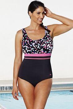 a819a9f18e0 Chlorine Resistant - Aquabelle Dots Empire Swimsuit Swimwear Clearance,  Swimwear Sale, Plus Size Swimwear