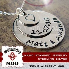 Free Shipping  Hand Stamped Jewelry  by wickedlymodpendants, $61.00