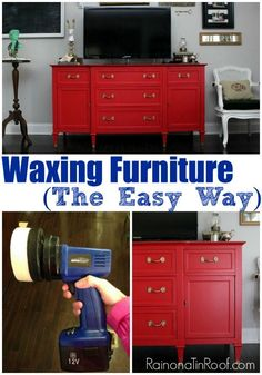 Waxing furniture - you will not believe how she waxed this piece of furniture - cuts the waxing time in half! I will totally be doing this for all my furniture makeovers that have to be waxed!