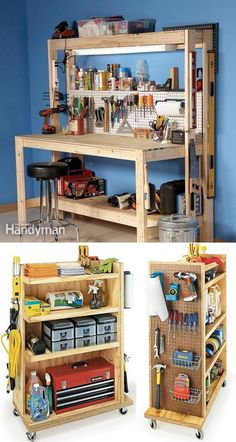 21 Inspiring Workshop and Craft Room Ideas for DIY Creatives - - 21 best DIY workshop & craft room ideas on creative storage & organization utilizing pegboards, shelving, closet & wall for a productive clutter free space! Workbench With Drawers, Workbench Plans, Woodworking Workbench, Woodworking Shop, Woodworking Projects, Garage Workbench, Woodworking Fasteners, Garage Bench, Pallet Furniture