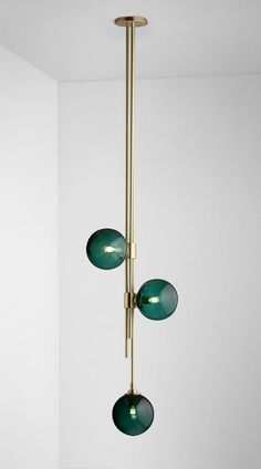 pendant lighting Articolo Trilogy Pendant with Drunken Emerald Balls and Brass Fittings Brass Fittings, Light Fittings, Light Fixtures, Lampe Art Deco, Deco Luminaire, Interior Lighting, Modern Lighting, Lighting Design, Contemporary Pendant Lights