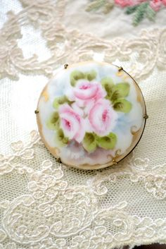 hand painted brooch