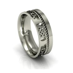 """Gaelic Love Forever Wedding Ring - Three Celtic Knot designs with the words """"Gra Go Deo"""" between them. Celtic Wedding Bands, Wedding Rings, Celtic Knot Designs, Irish Wedding, Sterling Silver Rings, Jewelry Rings, Rings For Men, Engagement Rings, Purple"""