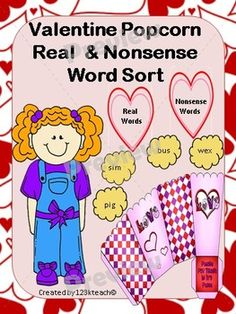 Students will love sorting real and nonsense word popcorn pieces into these adorable popcorn bags that you can easily assemble. Recording sheets are also available to go along with this fun hands on activity.