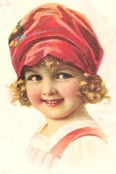 Vintage print, girl in red hat Vintage Abbildungen, Images Vintage, Photo Vintage, Vintage Ephemera, Vintage Girls, Vintage Pictures, Vintage Children, Vintage Postcards, Vintage Prints