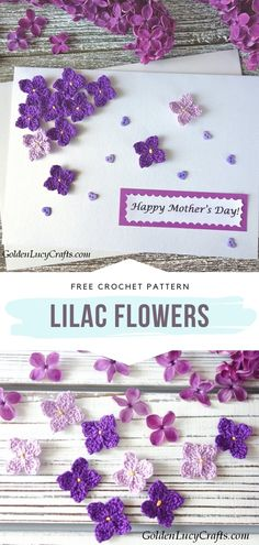 Lilac Flowers Free Crochet Pattern These tiny lilac flowers are great for appliques! You can decorate your projects with them in so many ways. How about attaching a few to your Mother's Day card? Crochet Flower Tutorial, Crochet Flower Patterns, Flower Applique, Crochet Motif, Crochet Flowers, Crochet Daisy, Crochet Leaves, Lilac Flowers, Tiny Flowers