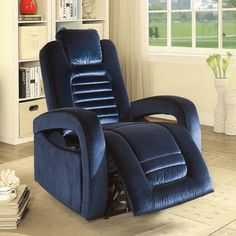 Acme 59580 Benjamin blue velvet fabric power recliner chair with USB power dock White Dining Chairs, Wicker Chairs, Upholstered Chairs, Living Room Chairs, Blue Leather Chair, Leather Chairs, Blue Velvet Fabric, Luxury Home Furniture, Acme Furniture